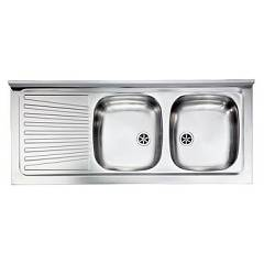 Cm Lavelli 031037 Dx Supporting sink cm. 120 x 50 pre-loaded stainless steel 2 roofs rh + left dropped Mondial Appoggio