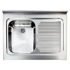 Cm Lavelli 031131 Sx Supporting sink cm. 80 x 60 satined stainless steel 1 layer tank + right drawner Rossana Appoggio