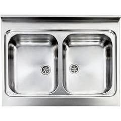 Cm Lavelli 031132 Supporting sink cm. 80 x 60 satin stainless steel 2 tanks Rossana Appoggio