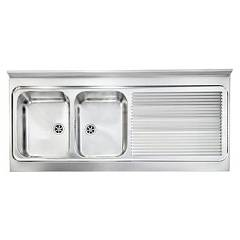 Cm Lavelli 031138 Sx Supporting sink cm. 135 x 60 satin stainless steel 2 layer tank + right drawner Rossana Appoggio