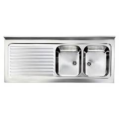 Cm Lavelli 031139 Dx Supporting sink cm. 150 x 60 satined stainless steel 2 right sheets + left dropped Rossana Appoggio