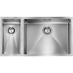 Cm Lavelli 012021 Dx Semi-flush sink cm. 81 x 45 - 1 bowl right + 1/2 left - satin stainless steel Filoraggiato