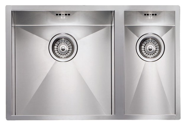 Filotop sink - cm. 67 x 45 - 1 bowl left + 1/2 right - satin stainless steel - CM Lavelli - 011923 SX