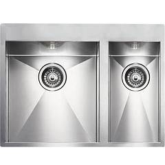 Cm Lavelli 012933 Sx Semi-flush sink cm. 67 x 50 - 1 bowl left + 1/2 right - satin stainless steel Filoquadra Mix