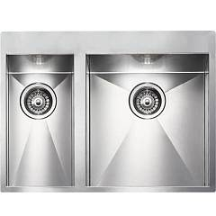Cm Lavelli 012933 Dx Semi-flush sink cm. 67 x 50 - 1 bowl right + 1/2 left - satin stainless steel Filoquadra Mix