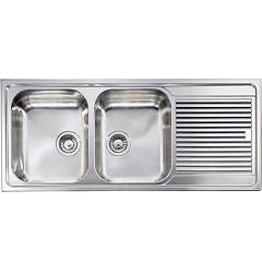 Cm Lavelli 010257 Sx Sink cm. 116 x 50 - 2 left tanks + right drip - stainless steel microdecoro Zenith Plus