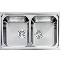 Cm Lavelli 011272 Sink 79 x 50 cm - 2 bowls - stainless steel microdecoro Zenith