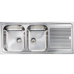 Cm Lavelli 011297 Sx Sink 116 x 50 cm - 2 left bowls + right drainer - scratch-resistant stainless steel Zenith