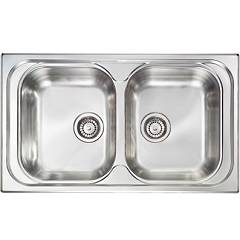 Cm Lavelli 011394 Sink cm. 86 x 50 - 2 bowls - scratchproof stainless steel Pizzica