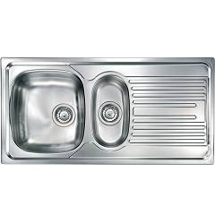 Cm Lavelli 010355 Sx Sink cm. 100 x 50 - 1 bowl + 1/2 left + right drainer - satin stainless steel Atlantic