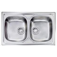 Cm Lavelli 010492 Sink cm. 79 x 50 - 2 bowls - scratchproof stainless steel Siros