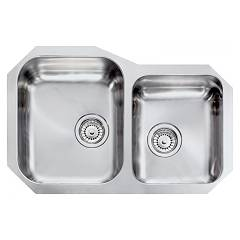 Cm Lavelli 011950 Sx Undermount sink cm. 73 x 48 - 1 large bowl on the left + 1 small bowl on the right - satin stainless steel Cinzia