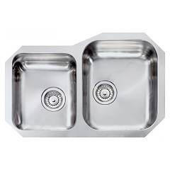 Cm Lavelli 011950 Dx Undermount sink cm. 73 x 48 - 1 large bowl on the right + 1 small bowl on the left - satin stainless steel Cinzia