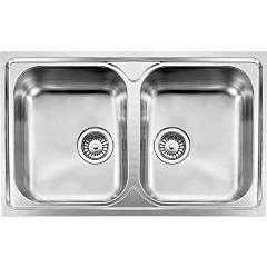 Cm Lavelli 010042 Built-in sink 82 x 51cm 2 bowls - stainless steel Cristal Filotop