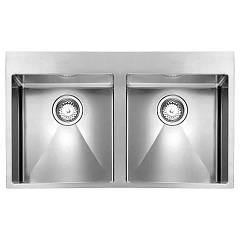 Cm Lavelli 01204c 89 x 50 cm slim sink with 2 bowls - satin stainless steel Filoraggiato Mix