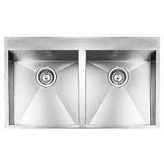 Cm Lavelli 01294b 89 x 50 cm slim built-in sink, two basins - satin stainless steel Filoquadra Mix