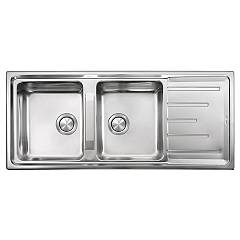 Cm Lavelli 015107 Built-in sink cm. 116 x 50 - satin stainless steel 2 bowls - with reversible drainer Brando