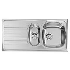 Cm Lavelli 010845 Dx Sink cm. 100 x 50 - 1 bowl + 1/2 right + left drainer - satin stainless steel Nihal
