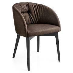 Connubia Calligaris Rosie Soft Cb/1910-v Wooden and eco-leather armchair / fabric