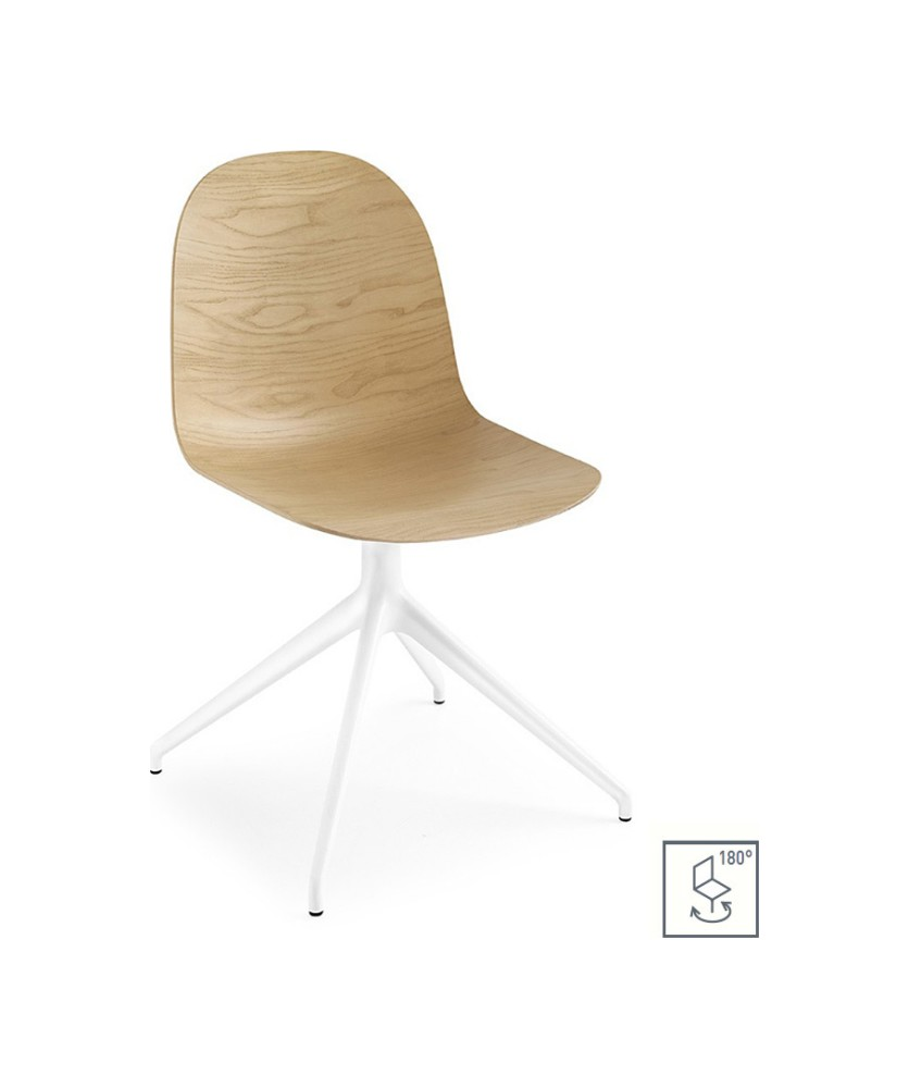 Photos 1: Connubia Calligaris ACADEMY CB/1694-3D 180 Revolving chair in metal and wood