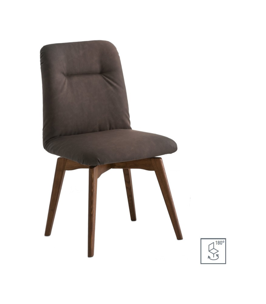 Photos 1: Connubia Calligaris GRETA CB/1950-V Swivel chair in wood and eco-leather