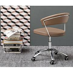 Connubia Calligaris New York Swivel chair | adjustable in height | with wheels - metal frame with eco-leather seat | skin