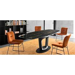 Connubia Orbital Extendable table l165 x h75 x p105 - wooden structure metal with ceramic top tempered glass