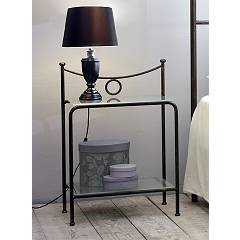 Cosatto Gabbiano Iron bedside with two shelves in glass cm. 50 x 37 x 69h