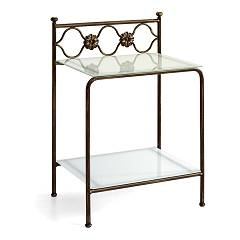 Cosatto Incanto Iron bedside with two shelves in glass cm. 50 x 37 x 69h