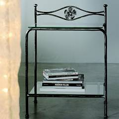Cosatto Albatros Iron bedside with two shelves in glass cm. 50 x 37 x 69h