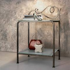 Cosatto Toledo Wrought iron bedside with glass shelves cm. 51 x 37 x 78h