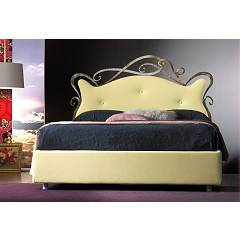 Cosatto Florenzia Double bed in iron with container with upholstered headboard