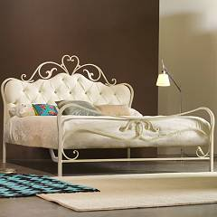 Cosatto Norma Capitonne Double bed in iron with upholstered headboard