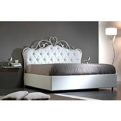 Cosatto Norma Capitonne Double bed in iron with container with upholstered headboard