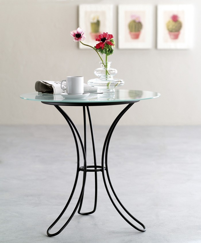 Cosatto Fiocco Round Wrought Iron, Round Metal Glass Top Coffee Table