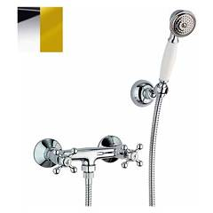 Crolla 1818 Wall-mounted shower tap - chrome external gold with duplex Chérie
