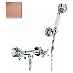 Crolla 1818 Wall shower tap - old copper exterior with duplex Chérie