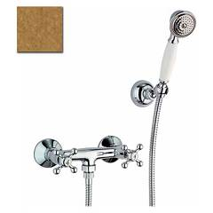 Crolla 1818 Wall shower tap - old external brass with duplex Chérie