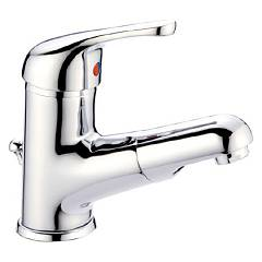 Crolla 20028d Washbasin mixer - chrome with extractable mouth and exhaust Ondula