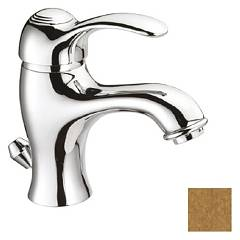 Crolla 9828 Lavabo mixer - old brass with drain Dune