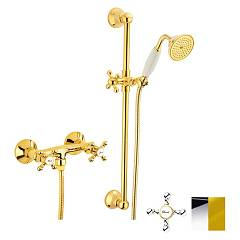 Crolla 7017 Co Wall-mounted shower tap - chrome external gold with shower tray Accademia