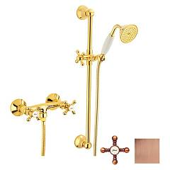 Crolla 7017 Vr Wall-mounted shower tap - old copper external with shower tray Accademia