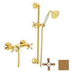 Crolla 7017 Vo Wall shower tap - old external brass with shower Accademia