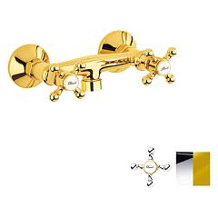 Crolla 7019 Co Wall-mounted shower tap - chrome outer-external gold without duplex Accademia