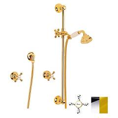Crolla 7025 Wall-mounted shower enclosure - chrome gold with shower tray Accademia