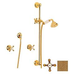 Crolla 7025 Vo Wall-mounted wall-mounted faucet - old brass with shower enclosure Accademia