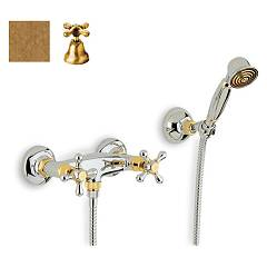 Crolla 818 Shower tap - old brass with duplex Liberty