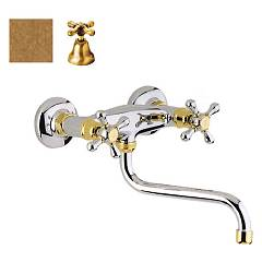 Crolla 814 Vo Wall kitchen tap - old brass Liberty