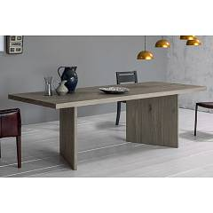 Devina Nais Wood Fixed / extendable table - solid wood top with debarked edge and iron structure | wood | glass