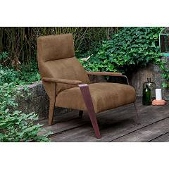 Devina Nais Oklahoma Armchair - iron structure with elastic straps and buffalo leather seat | soft touch leather
